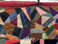 Antique Vintage Early 1900s 1915 Crazy Presentation Quilt Dated Signatures