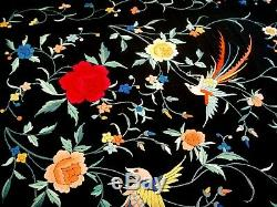 Antique Vintage Hand Embroidered Chinese Large Silk Piano Shawl Tablecloth Birds
