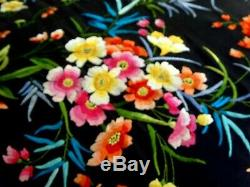 Antique / Vintage Hand Embroidered Silk Floral Large Piano Shawl Tablecloth
