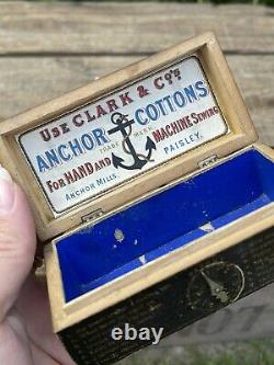 Antique Wooden Fortune Telling Box Anchor Cottons Sewing Thread Box Clark & Co