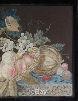 Antique Wool & Silkwork Bird with Fruit Embroidery