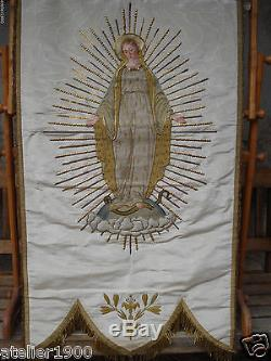 Antique Banner Blessed Virgin Mary Raised Embroidery Gold