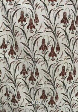 Antique c1840-60 French Hand Blocked Exotic Indienne Printed FabricL-78X W-38
