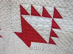 Antique cl890-Hand Quilted Red/Cream Saw tooth Baskets Quilt74X 61