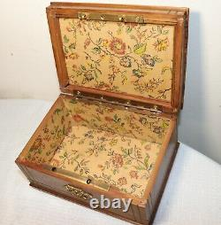 Antique handmade wood bronze footed sewing pin cushion lid box casket jewelry