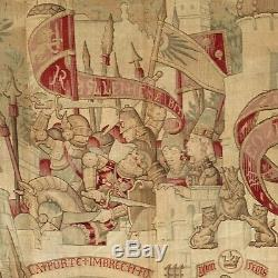 Antique printed tapestry War of Troy Trojan theme printed French textile mural