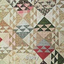 Antique red and cream color old hand made quilt