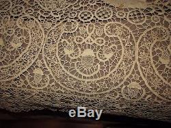 Antique vtg venetian lace tablecloth bedspread strawberries roosters flowers &+