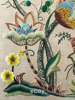 Arts & Crafts Jacobean Style Crewel Embroidery Panel Woolwork in Oak Frame