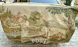Auth Antique Aubusson Tapestry Silk & Wool Hand Made French Beauty 3x6 NR