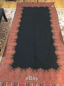 BIG BLACK ANTIQUE 1850's KASHMIR PERSLEY X-LARGE FRENCH HAND LOOMED SHAWL