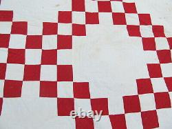 BOLD, STRIKING RED EARLY ANTIQUE PATCHWORK QUILT, c1860, Irish Chain, Victorian