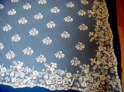 Beautiful Antique Embroidered Tulle Lace Veil Shawl