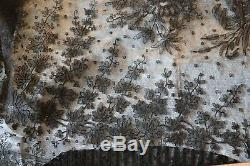 Beautiful Salvaged Antique c1860 French Handmade Chantilly Lace Skirt48X132