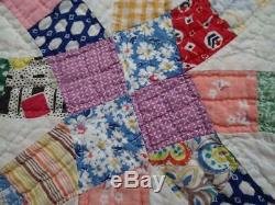 Beautifully Quilted! Vintage 30s Wedding Ring QUILT 83x74 Cottage Home