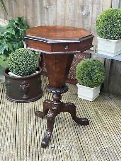 Burr Walnut Victorian Sewing or Work Table Great as Side Lamp End Table