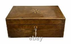C 1835 Sewing Box With Secret Drawer and Marquetry With Key