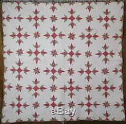 C1860-1880 Antique Red & Green Star QUILT Incredible Quilting