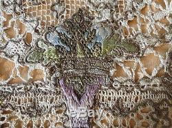 CIRCA 1880-1900's, ELABORATE TABLECLOTH WithPOLYCHROME SILK, METALLIC EMBROIDERY