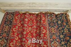 CURTAIN Antique French Kilim pattern drape c 1880 red blue woven heavy textile