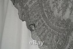 Chantilly lace shawl large triangle 108 in. Civil War Era original antique