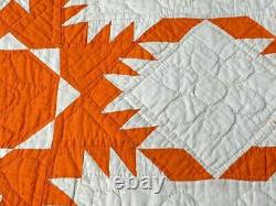 Cheddar Orange! C 1900s Feathered Star QUILT Vintage Halloween Never Used