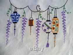 Chinese Lanterns & Wisteria Vintage Hand Embroidered Tablecloth & 6 serviettes