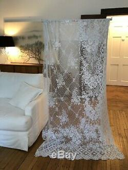Circa 1900, Lovely Large Ornate Tambour Lace Curtain