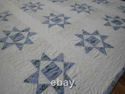 Cottage Home! Vintage 40s Periwinkle Blue & White Ohio Star QUILT 74x65