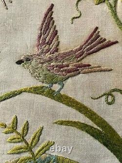 Crewel Embroidery Panel Jacobean/Arts & Crafts wool work tapestry on linenBirds