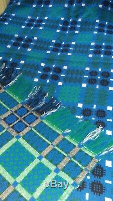DERW Vintage Pure 100% Welsh Wool Traditional Tapestry Woven Blanket Blue&Green