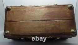 Delightful Victorian Leather Jewellery Needlework Box Gilt & Mother Of Pearl