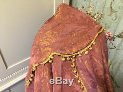 Divine Pair Long French Antique Silk Damask Deep Pink And Gold Curtains Pelmet
