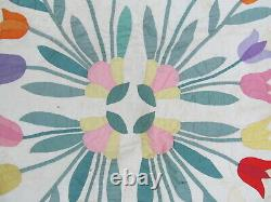 Dramatic, Bright, & Colorful Antique Hand Appliqued Tulip Floral Quilt, Gift