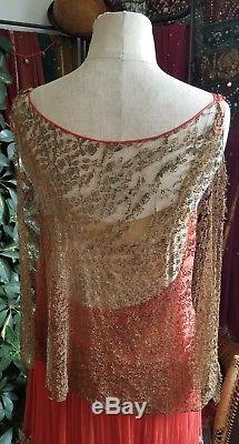 Dreamy 1920s Silk Chiffon Ribbon Embroidery Metallic Lace Flapper Dress Gown 20s