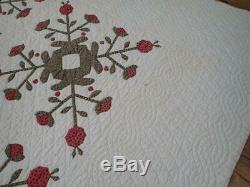 EARLY 1860 Antique Applique Red & Green Rose Tree Quilt 75x61