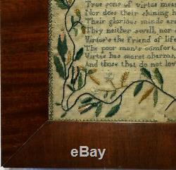 EARLY 19TH CENTURY VIRTUE VERSE SAMPLER BY ELIZABETH CHURCHES AGED 8 c. 1835