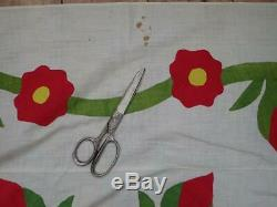 EARLY Antique Applique Green & Red Wreath QUILT TOP Vine Border 90x85