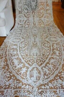 EXQUISITE 196 FIGURAL iTALIAN TABLECLOTH WithCHERUBS, FLORALS, ANIMALS