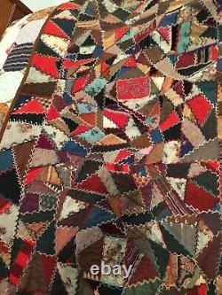 EXTRAORDINARY Double-sided ANTIQUE Vintage CRAZY QUILT 1880s WOOL w Embroidery