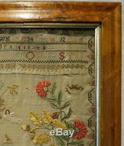 Early 19th Century Floral Spray & Motif Sampler By Mary Ann Watson Age 10 1816