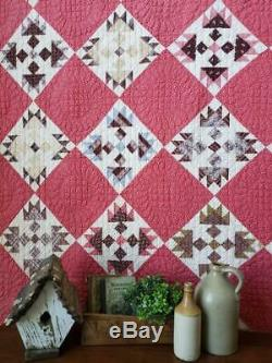 Early Stunning Fabrics! C1870 Deep Double Pink Antique QUILT 76x69