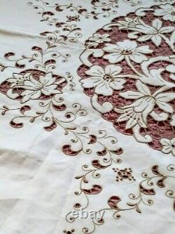 Elaborate Large Madeira Round Floral Cutwork & Embroidered Linen Tablecloth 70