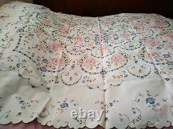 Elaborate Pink Blue Floral Madeira Cutwork Embroidered Linen Tablecloth 95x78