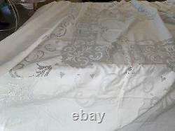 Exquisite Antique Swiss Appenzell Hand Embroidery Figural Banquet Tablecloth