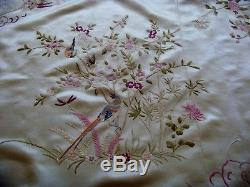 Exquisite Antique / Vintage Chinese Hand Embroidered Silk Piano Shawl Tablecloth