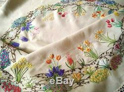 Exquisite'Fairistytch' Cottage Garden Circle Hand Embroidered Large Tablecloth