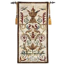 FRENCH AUBUSSON BIRDS CREST JACQUARD LOOM WOVEN TAPESTRY 125 x 67 cm