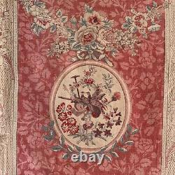 Fabric Vintage French printed linen material upholstery weight ribbon and bow