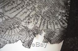 Fabulous Antique Silk Chantilly Lace Mourning Shawl Mantilla Wrap Tt41